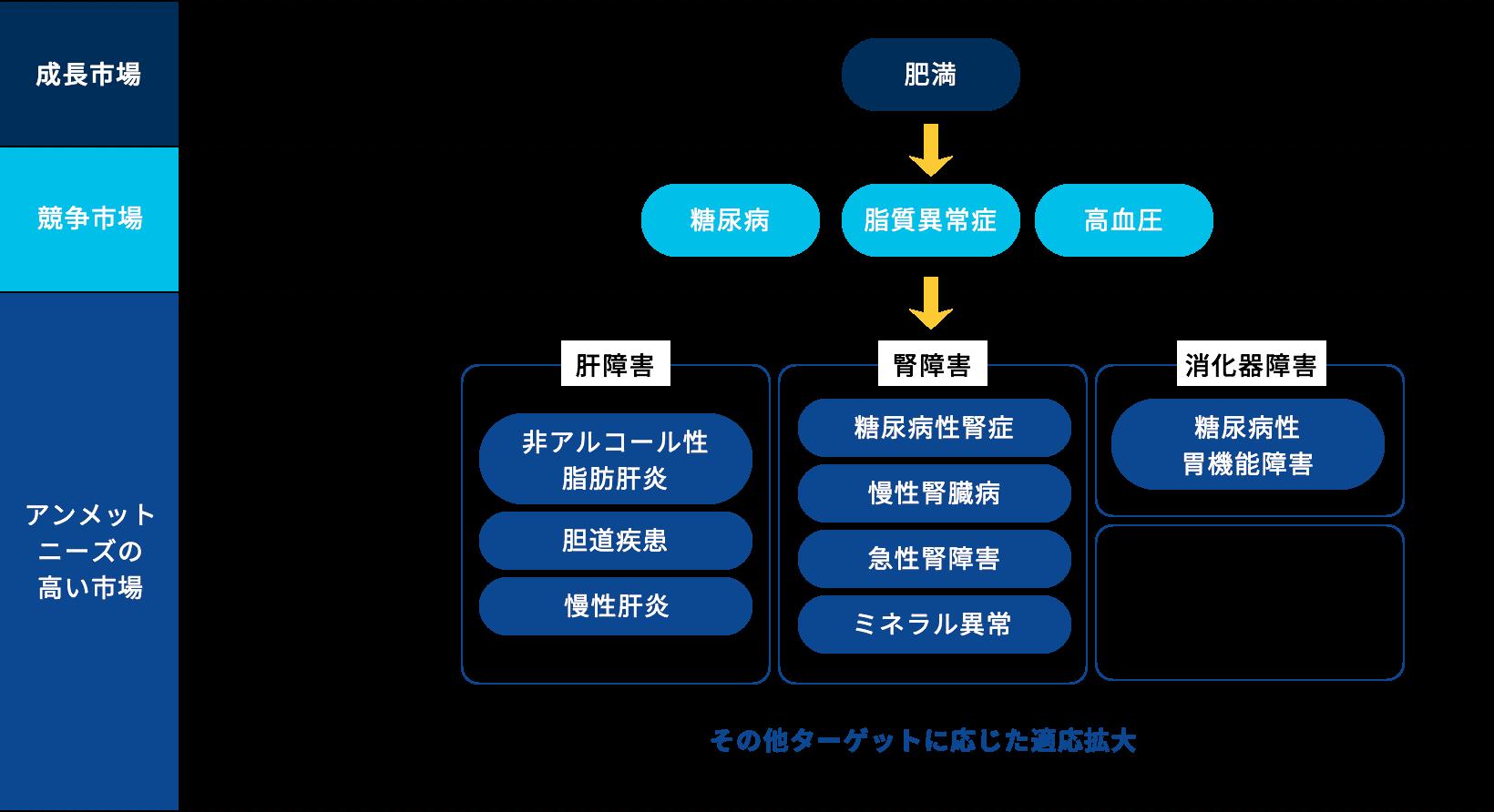 当社の注力疾患領域を表した図